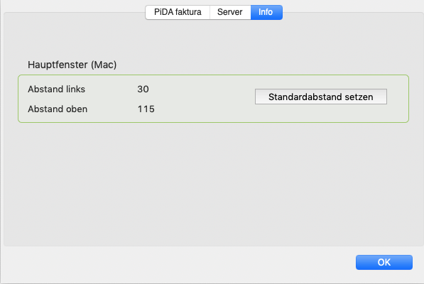 PiDA faktura, Standardposition