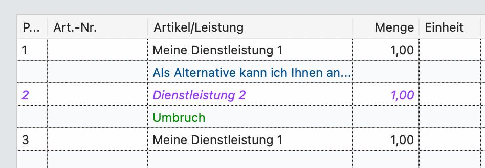Positionsart Umbruch